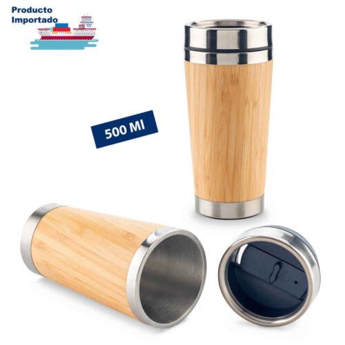 Mug Metálico con Bamboo 500 ml
