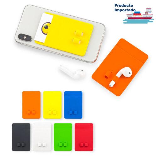 Portatarjetas en Silicona con Porta Audífonos